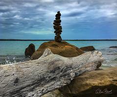 Rock Balancing 1 (caralan393) Tags: beach rocks phone balance balancing sculpture log