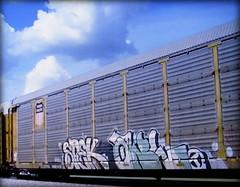 (timetomakethepasta) Tags: spek owl circlet freight train graffiti art union pacific autorack