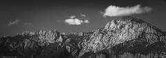 Rugged (Through_Urizen) Tags: antalya category goynuk landscape panorama places turkey blackandwhite bw whiteandblack tamron70200g2 canon70d canon landscapephotography travel sky clouds mountains rocks trees ridge monochrome mono