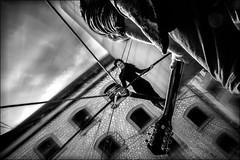 La droite est le plus court chemin pour aller d'un point à un autre!!!....  / To trace a straight line is the best way to go from one point to another!!... (vedebe) Tags: netb noiretblanc nb bw monochrome fête ville city rue street urbain urban homme humain people human femme musicien absoluteblackandwhite