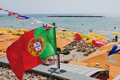 a bit of Portugal in Israel (Gail at Large | Image Legacy) Tags: 2016 israel portugueseflag beach flag