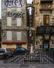 Urban kids' fun (Tiigra) Tags: palermo italy it 2018 architecture balcony baroque cafe child city door fence fountain graffiti lattice metal palace passage person playing repetition road ruin sicily stairs texture window art arch