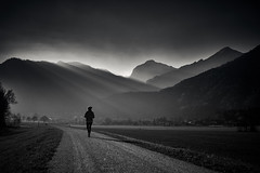 On her way (iamunclefester) Tags: walking mountain mountains summit top autumn sunny sun moody blackandwhite monochrome weather mist rayoflight rays ray light lightray trees solitude walk walkway dike dyke dam tirolerache achental schleching meadows misty hazy tree village castshadow hardshadow shadows river magic atmosphere haze mysterious woman way loneliness rimlight contrast silhouette countryside field land landscape acre absoluteblackandwhite ybs2018