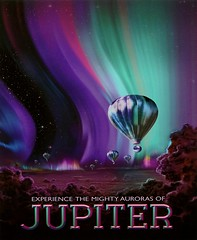 """Experience the Mighty Auroras of Jupiter"" (2016). Image Courtesy of NASA/JPL-Caltech (lhboudreau) Tags: jupiter aurora auroras mightyauroras mightyaurorasofjupiter poster art artwork painting nasa jplcaltech pattern night dark atmosphere balloon balloons 2016 cloud clouds experience blue purple rose colors ribboncandy ribbon ribbons light lights northernlights southernlights spacetraveler space spaceart jupitersauroras junomission juno polarregion pole poles polarregions"