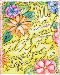 You must not be Defeated Printable Art - Instant Download (Carrie Stephens) Tags: clipart graphics illustrations artprints printableart etsy digitaldownload gift digitalart art artprint illustration illustrator photoshop defeated floral floralart watercolour watercolor yellow pink tropical handlettered handdrawn motivational inspirational nevergiveup happy goodvibes