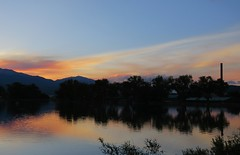 Wishing All A Most Happy New Year! (Patricia Henschen) Tags: salida colorado frantzlake sunset lake clouds reflection coloradoparkswildlife swa statewildlifearea solstice summer mountain mountains sawatch range upperarkansasvalley reflections smokestack smelter historic smeltertown catchycolors