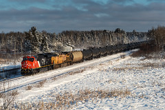 Oil Empties (shawn_christie1970) Tags: industrialtownship minnesota unitedstates us canadian national cn3140 ge train oil railroad saginaw snow winter cold cn3150 et44ac