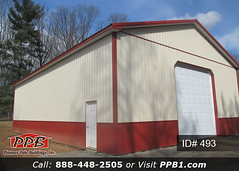 """40' W x 60' L x 16' 4"""" H (ID# 493) - Pole Building (pioneerpolebuildings) Tags: pole building dimensions 40' w x 60' l 16' 4"""" h id 493 upper color beige lower red 1 14' residential premium garage door with dutch corners eaves gables 1' more details httppioneerpolebuildingscombuildingids401to500project40wx60lx164hid493approximatecost31465 polebuilding ppb pioneer toolbarn equipmentstorage pioneerpole barn shed toolshed redbuilding that is twotone siding pioneerpolebuildings garagedoor"""