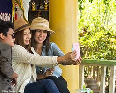 Girls in Kanchanaburi (Jom Manilat) Tags: three girls wat tham seua kanchanaburi thailand selfie