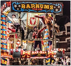 Plenty of Jazz Hands on the Barnum's Parade float (Andy J Newman) Tags: evening street barnum carnival d810 float glastonbury highiso highstreet lowlight night nikon parade procession somerset england unitedkingdom gb