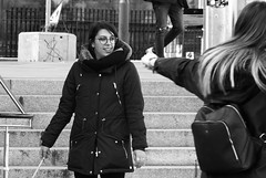 wizarding battle 02 (byronv2) Tags: edinburgh edimbourg blackandwhite blackwhite bw monochrome peoplewatching candid street bristosquare harrypotter fantasy books wizard wizards wizardbattle wand magicwand man woman