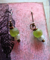 matte peridot and aquamarine ant brass earrings 1 (msficklemedia) Tags: handforged artisanjewelry handcrafted earrings recycledmetal stone beads sterling silver missficklemedia