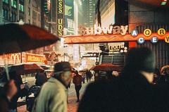 Ektachrome nightcrawlers: pushing through the crowds (NYC Macroscopist) Tags: subway night crowd mood atmosphere vintage vintagecolors leica ektachrome street urban newyork midtown manhattan