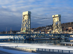 Gateway to Copper Island (view2share) Tags: houghtoncounty houghton hancock coppercountry bridge viaduct liftbridge canal lake portagelake portagecanal sky weather clouds cloud storm stormclouds winter snow upperpeninsula uppermichigan northernmichigan michigan mi deansauvola december december2018 2018 december242018 engineering sooline cold highway us41 m26 water shipping liftspan christmaseve ice