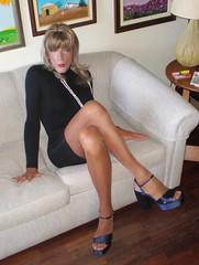 Karen (Karen Maris) Tags: tg tgirl tgurl karen legs tranny trannie transgender transsexual transvestite pantyhose tights heels sandals blonde sheer crossdress crossdresser