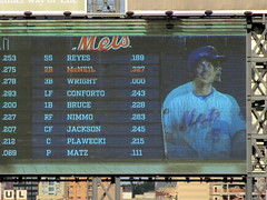 Citi Field, 09/29/18 (NYM v MIA, David Wright's final game): this photo of the Mets' starting lineup on the right field scoreboard shows the scrolling orange text and player photo transitioning from Jeff McNeil to David Wright (IMG_3839a) (Gary Dunaier) Tags: baseball stadiums stadia ballparks mets newyorkmets flushing queens newyorkcity queenscounty queensboro queensborough citifield