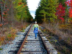 Girl Walking into Autumn (Stanley Zimny (Thank You for 33 Million views)) Tags: girl woman female train tracks autumn fall 4 four seasons nh people walk