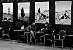 Cafe break, Liverpool One (ronramstew) Tags: liverpool merseyside men bw blackandwhite street outdoors cafe streetphotography candid