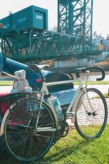 The Surly Steamroller at Hart Crane Memorial Park (jomak14) Tags: bicycleroute bridge cleveland cuyahogariver fixedgear lumixg14f25 merwinswharf microfourthirds mirrorlesscamera notinqueensnyanymore oh ohio olympusep2 pancakelens publicart sculpture surlysteamroller wheremybiketakesme m43 hartcranememorialpark