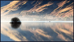 calm waters (After-the-Rain) Tags: canoe derwentwater calm tranquil reflection keswick lakedistrictnationalpark unescoworldheritagesite december winter ©joanthirlaway landscape water mountain lake rowing exercise calfclosebay