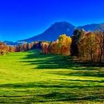 Autumn landscape with view towards Kaiser mountains in Breitenau near Kiefersfelden, Bavaria, Germany thumbnail