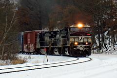 NS 11Z in the snow (Hank Rogers) Tags: pa pennsylvania yatesville siding yatesvillesiding ns rr rail railroad train 11z norfolksouthern sunburyline train11z 9891 ns9891 transportation industry snow snowy cold winter trees