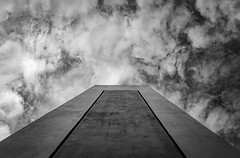 Towards The Sky (panos_adgr) Tags: nikon d7200 architecture keratsini drapetsona attica greece building perspective lines contrast abandoned sky clouds winter monochrome bw