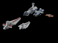 Clone Wars rivals (Cpt. Ammogeddon) Tags: star wars space ship battle fighter army rebel evil sky vehicle mini lego moc custom scifi science movie fan freighter destroyer venator invisible hand