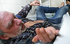bathtub relaxing (marcostetter) Tags: wetlook wet wetclothes wetclothing fullyclothed bathtub wetshirt