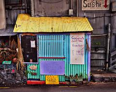 Fresh Organic, Kona, Big Island (augenbrauns) Tags: streetphotography tinroof yellow blue hut signs hawaii bigisland kona sushi organicfruit artdigital awardtree exoticimage