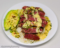 Sous vide scotch fillet steak on jasmine rice with avocado dressed with Hollandaise sauce. (garydlum) Tags: avocado beef chilliflakes chillies hollandaisesauce jasminerice parsley rice scotchfilletsteak canberra australiancapitalterritory australia au