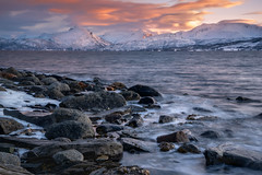 Meeting of the elements - Begegnung der Elemente. (ralfkai41) Tags: ngc seascape rock norwegen landscape sunset nature wasser mountains berge outdoor ufer natur shore norway felsen liland eis lofoten clouds schnee snow winter landschaft sonnenuntergang water wolken ice