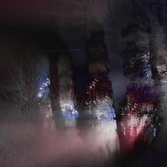 Hold-up (Ali's view) Tags: traffic queue waiting light icm intentionalcameramovement winter dark darkness lane treeline