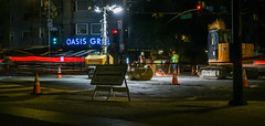 asphalt cutting at 4th and howard street (pbo31) Tags: bayarea california nikon d810 night dark black color january 2019 boury pbo31 sanfrancisco city urban howardstreet soma mosconecenter convention construction lightstream motion traffic roadway work