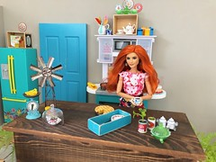 Pioneer Woman inspired kitchen diorama. (JunqueDollBoutique) Tags: playscale diorama kitchen pioneer woman island farmhouse women ree drummond becky lynch doll mattel barbie one sixth scale farm decor style miniatures rement vintage sindy dishes