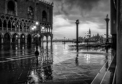 Wet and Windy Venice (photofitzp) Tags: bw blackandwhite italy lights rain venice wet windy