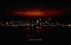 Morning Cracking (jeanmarie's photography) Tags: jeanmarieshelton dark dawn sunrise sky city cityscape pacificnorthwest spaceneedle seattle waterscape washingtonstate nikon nightsky night lights water