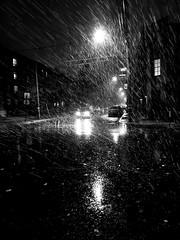 Poor Visibility (MassiveKontent) Tags: noiretblanc blackwhite montreal bw city monochrome urban blackandwhite streetphoto montréal quebec streetphotography bwphotography streetshot snow snowfall night nightshot shadows blancoynegro