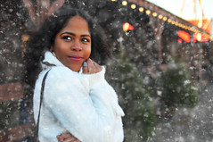 Leydis in the snow 3 (Martyn.Hayes) Tags: portraiture portrait woman snow christmas whiteclothes cosy warm cold shivering festive xmas december christmasmarket winterville london hut bar pub cabin logcabin alpine german skilodge snowfall