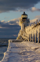 Winter's wild wonder (Notkalvin) Tags: stjoseph lighthouse northpierlighthouse northpier lakemichigan michigan winter cold ice icy frozen ouside outdoors subzero icicles nature storms water pier navigationalaid notkalvin notkalvinphotography mikekline light freezing fun winteriscool