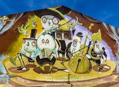 Spain - Malaga - Adolfo Suarez Bulevar (Marcial Bernabeu) Tags: marcial bernabeu bernabéu europe europa spain españa andalucia andalucía andalusia malaga málaga bulevar bulevart adolfo suarez suárez wall muro mural graffiti art arte calle street painting colors colours colorful colores cucaracha orchestra orquesta music musica música