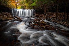 Oneida Falls in Autumn (JBMarro) Tags: falls waterfall ricketts glen state park pa pennsylvania usa us nature fall colorful color trees autumn water flow leaves rocks smooth nepa northeastern landscape long exposure nikon d810 wide angle oneida