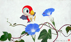 Japanese morning glory and unknown bird (Japanese Flower and Bird Art) Tags: flower morning glory ipomoea nil convolvulaceae bird kenji shimizu modern screenprint print japan japanese art readercollection