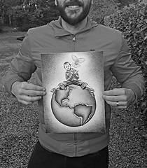 Child on Globe - Original Ballpoint Pen Illustration by Ben Heine (Ben Heine) Tags: art originalart child childhood enfance globe innocence espoir peace paix benheineart dessin drawing originaldrawing artwork artstudy illustration paper avendre dessinaubic artforsale artiste artist portrait coolandaffordableoriginalsforsale expressive expressionism ballpointpen ballpointart bic sketches collage painting future hope