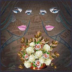 Blue Eyes (SØS: Thank you for all faves + visits) Tags: blomster digitalartwork art kunstnerisk manipulation solveigøsterøschrøder artistic eyes fantasy flowers roses
