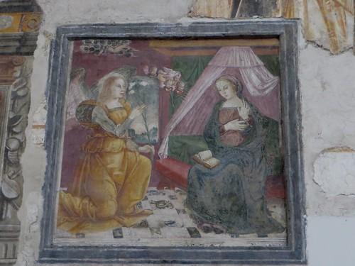 """""""L'Annonciation"""", fresque (XIVe), chœur des religieuses, ancienne église gothique de Santa Maria Donnaregina Vecchia, Naples, Campanie, Italie."""