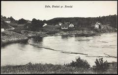Postkort fra Agder (Avtrykket) Tags: bolighus elv hus postkort tømmer uthus vassdrag vei arendal austagder norway nor