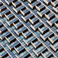 Simple Abstract 37 (No Great Hurry) Tags: balconies london greenwichpeninsula nogreathurry robinmauricebarr simpleabstract architecture pattern architectureontheslant x100f lookingup blueandwhite