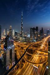 Downtown Dubai (world.wideweg) Tags: burj khalifa burjkhalifa downtown dubai uae unitedarabemirates downtowndubai intersection sheikzayedroad night illumination traffic bluehour