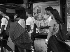 Umbrella Up (Beegee49) Tags: street children high school boys girl filipina pictures poster blackandwhite monochrome bw happy planet sony a6000 luminar silay city philippines asia happyplanet asiafavorites